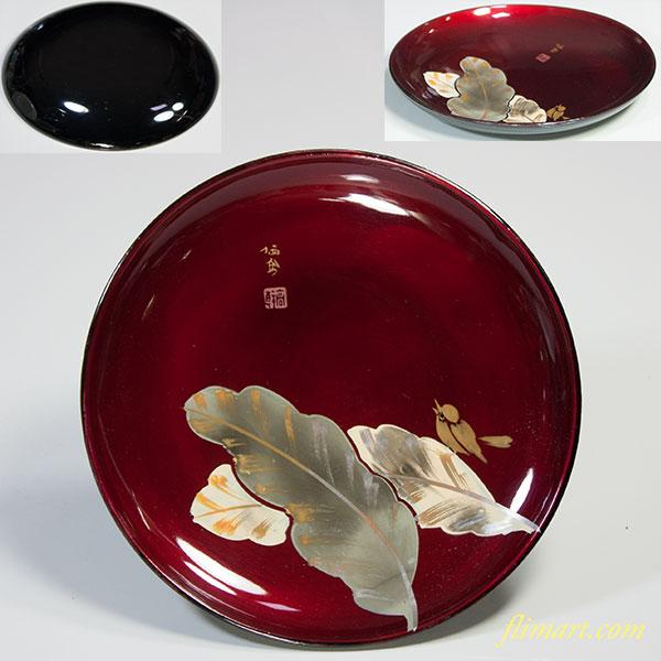 木製漆器菓子皿W5215