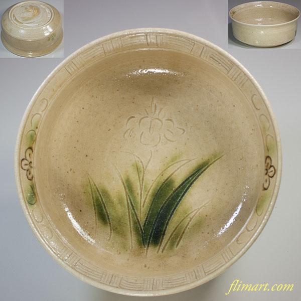 加藤光右衛門窯黄瀬戸菓子鉢