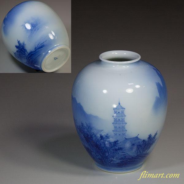 深川製磁染付山水小花瓶