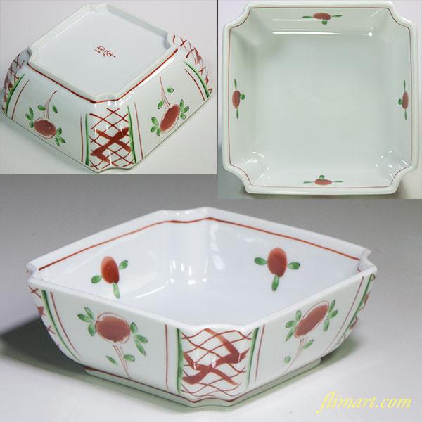 陶峰赤絵角鉢W5299