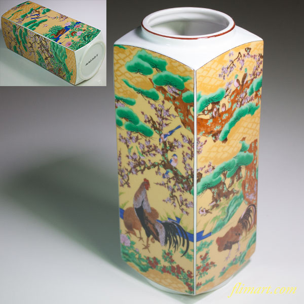 吉鶴桃山狩野山楽角花瓶