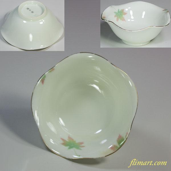 深川製磁三彩かえで小鉢豆鉢