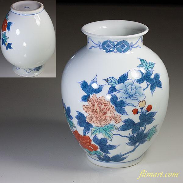 鍋島雅山染錦花瓶
