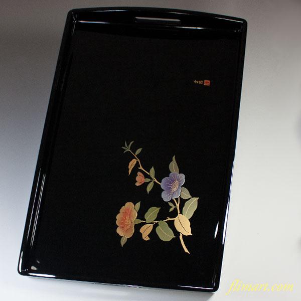 木製山茶花長手盆W5369