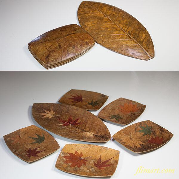 和紙製葉型菓子皿セット