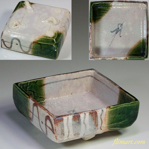 東山窯織部三つ足角小鉢