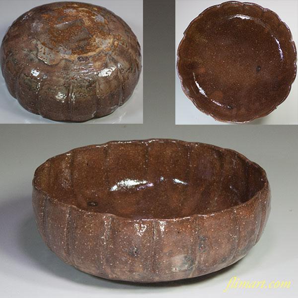 其中窯河村喜太郎菊形菓子鉢