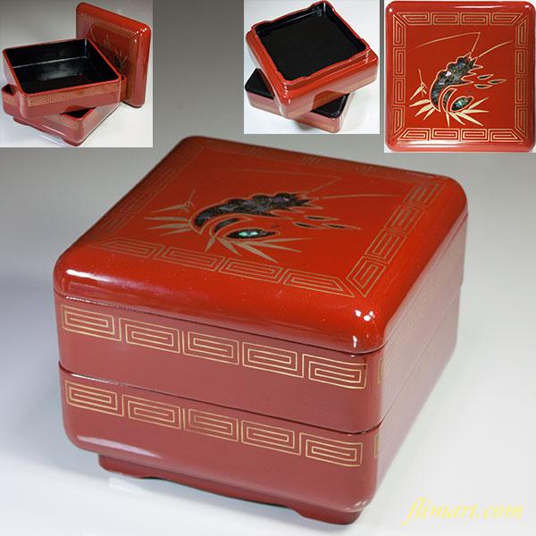 木製漆器朱塗蝦二段重