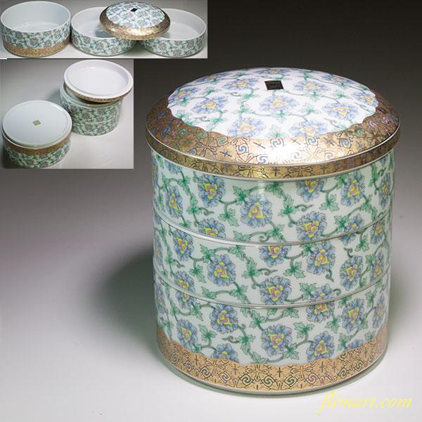 前畑陶器庫山窯米市金襴手まり三段重
