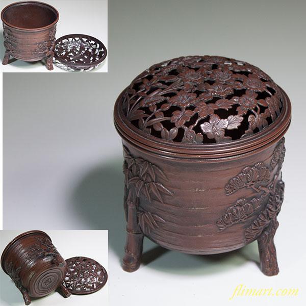 精山松竹梅銅器三つ足香炉
