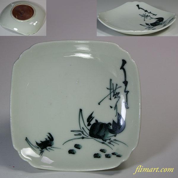 蟹柄角小皿W5454