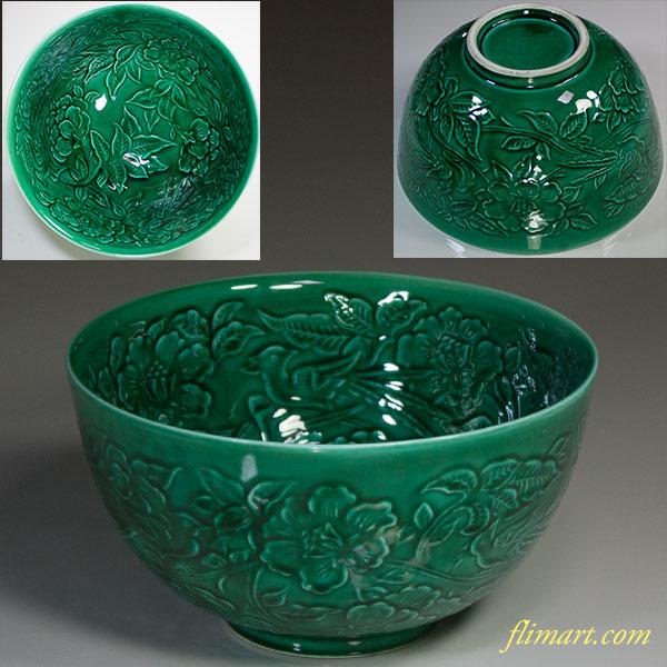 緑釉陽刻菓子鉢W5442