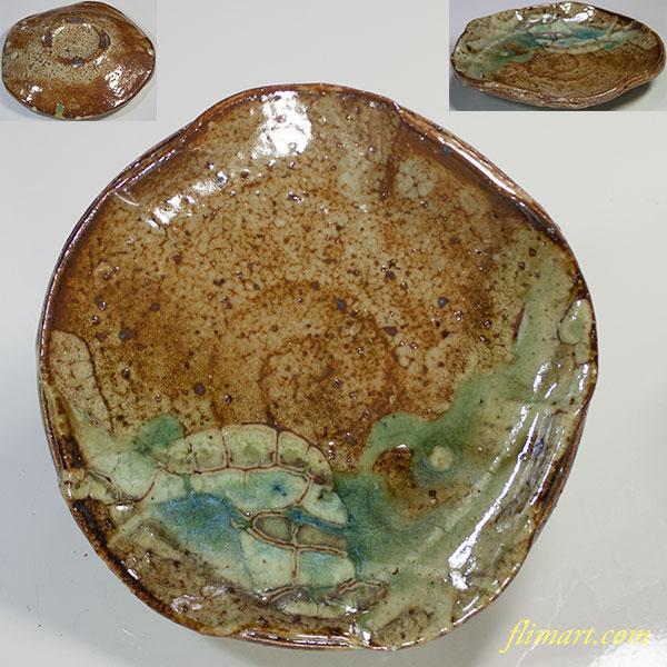 明窯加藤嘉明灰釉梅型皿W5502