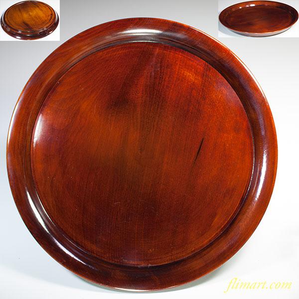 木製漆器丸盆W5598