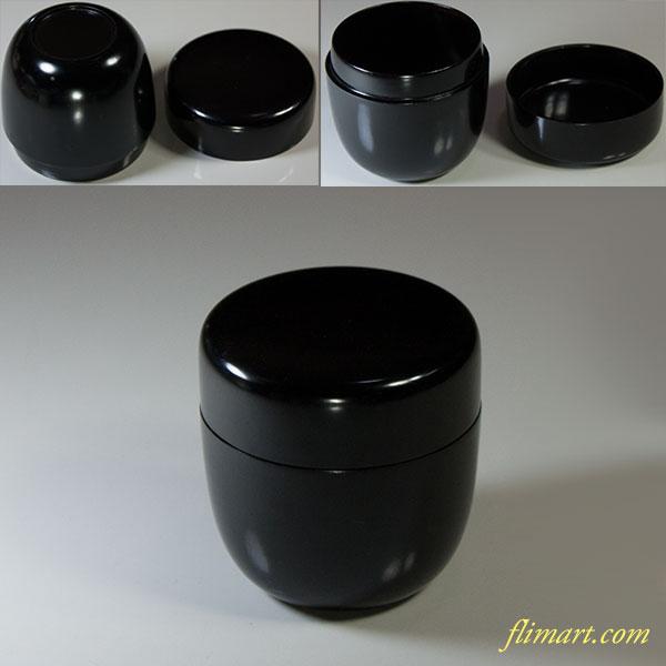 黒塗木製漆器棗W5501