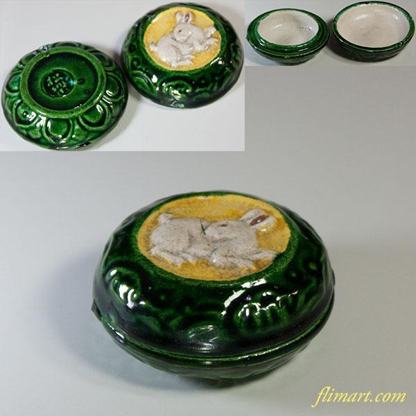 松楽緑釉兎香合