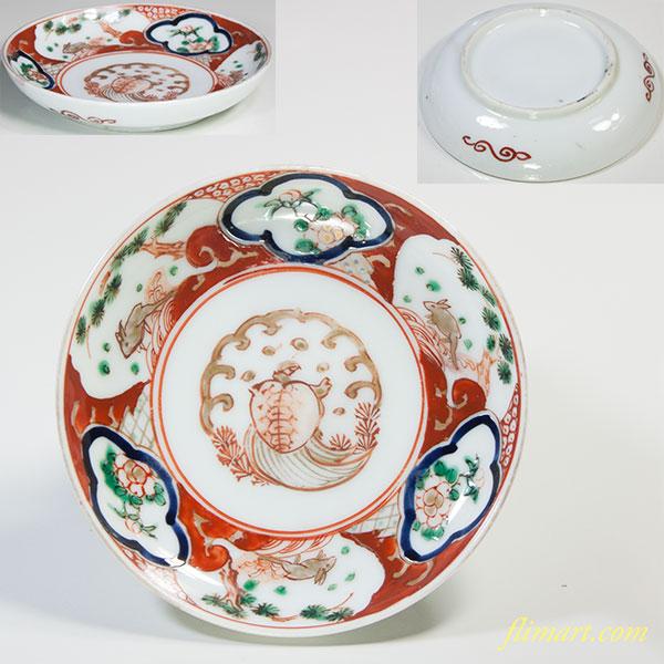 色絵亀兎小皿W5532