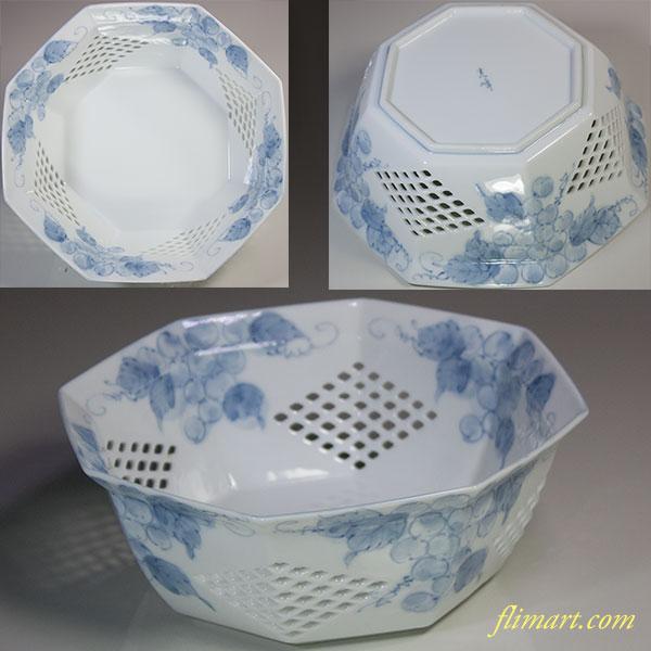 光峰透かし葡萄柄菓子鉢W5543