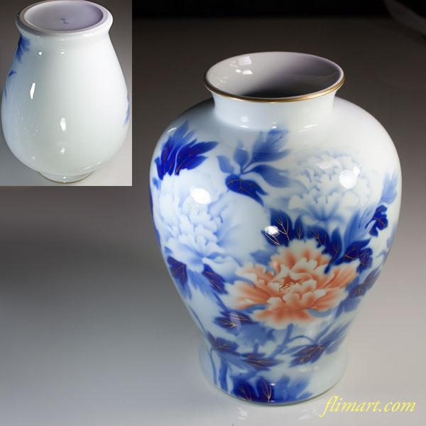 深川製磁染錦牡丹一尺花瓶