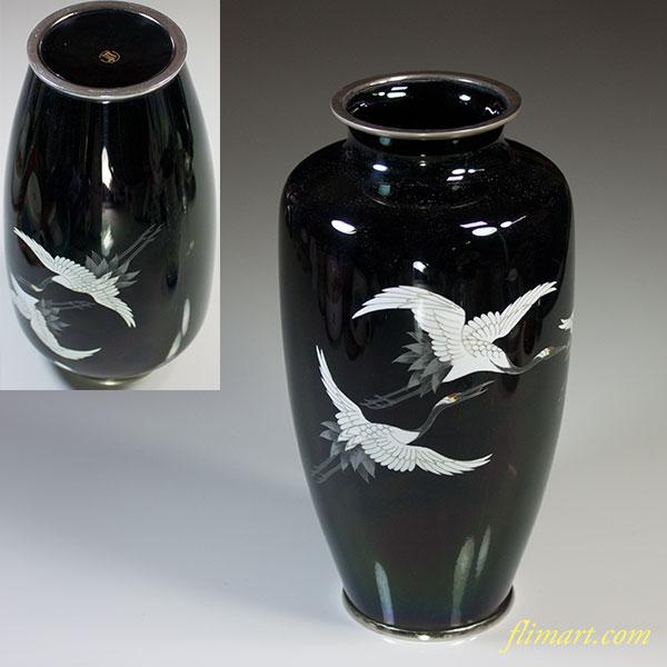 七宝黒鶴花瓶W5584