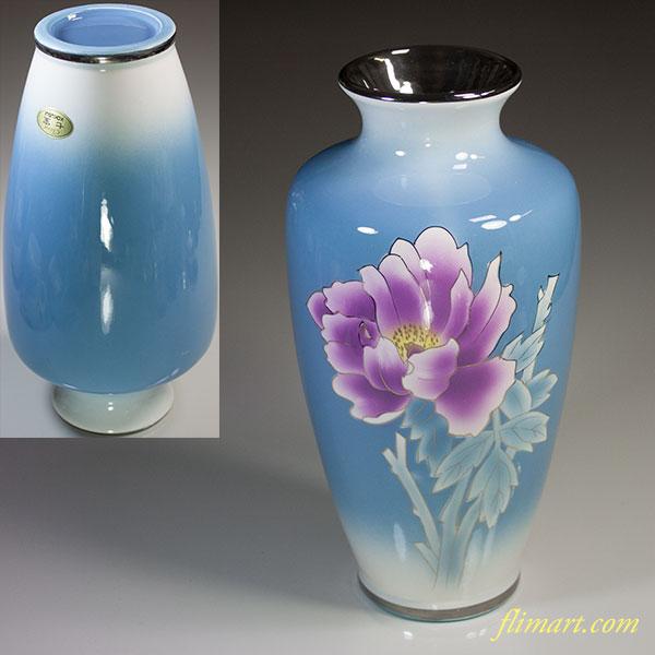 黒翠七宝花柄花瓶W5591