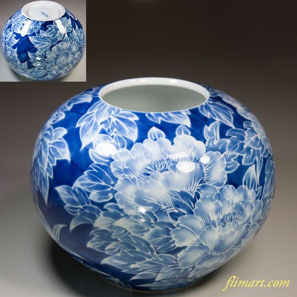 有田焼文右衛門牡丹丸花瓶W5579