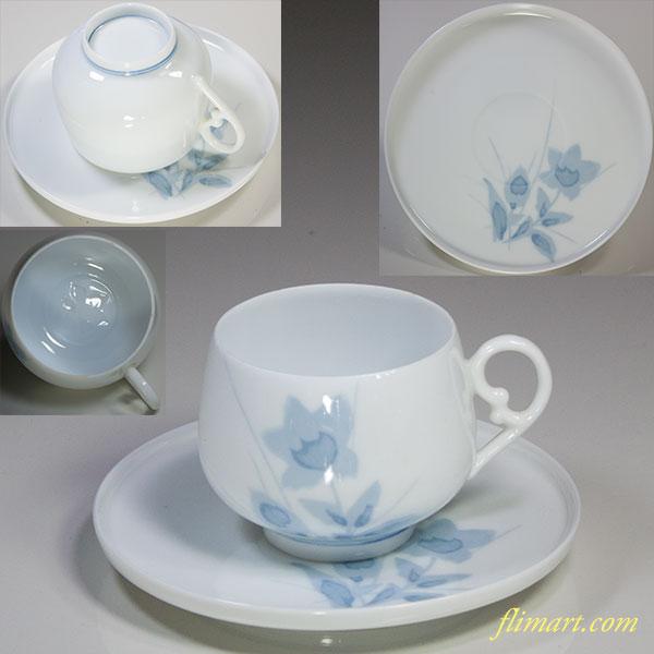 白磁桔梗柄碗皿W5594