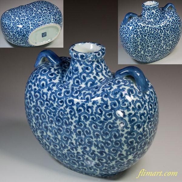 丸窯蛸唐草扁壺耳付花瓶