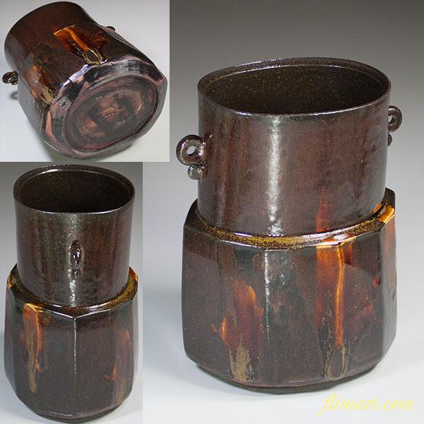 県窯加藤春県古瀬戸耳付花瓶