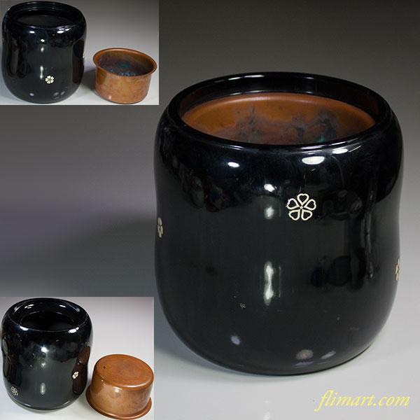 螺鈿木製漆器手あぶり火鉢