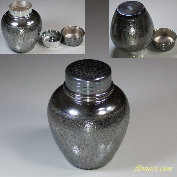 銀川堂黄銅いぶし銀茶壺
