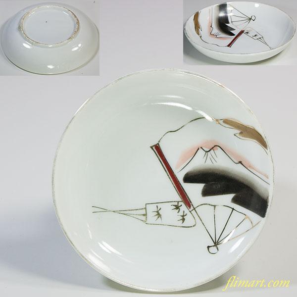 扇に富士図豆皿小皿