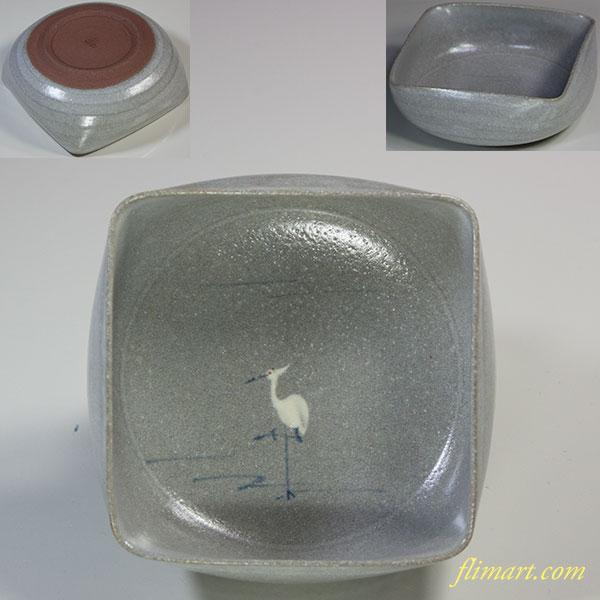 たち吉サギ絵四方小鉢