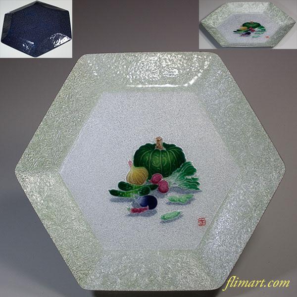 七宝六角野菜柄飾皿