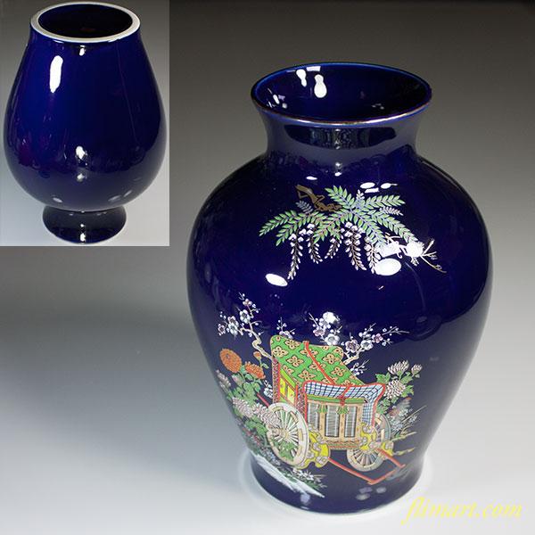 明陶瑠璃御所車花瓶