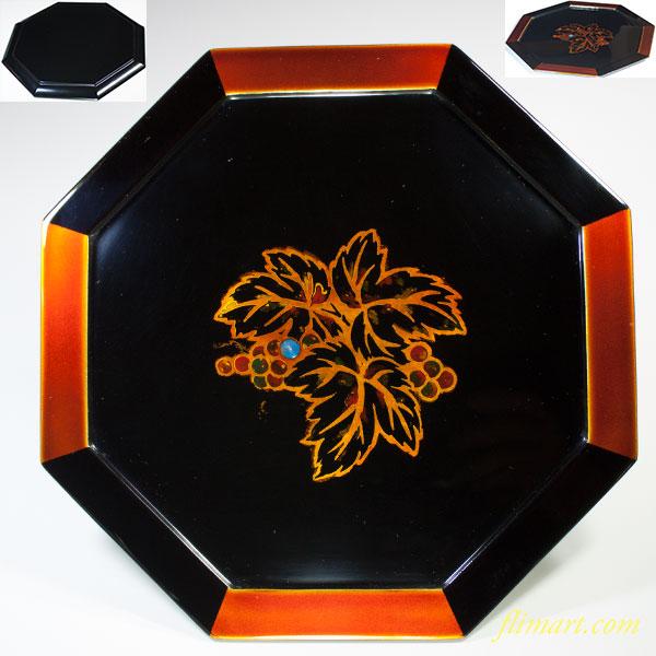 八雲塗木製漆器八角盆金葡萄