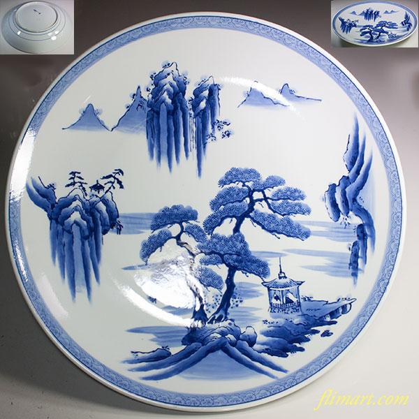 染付山水一尺五寸大皿