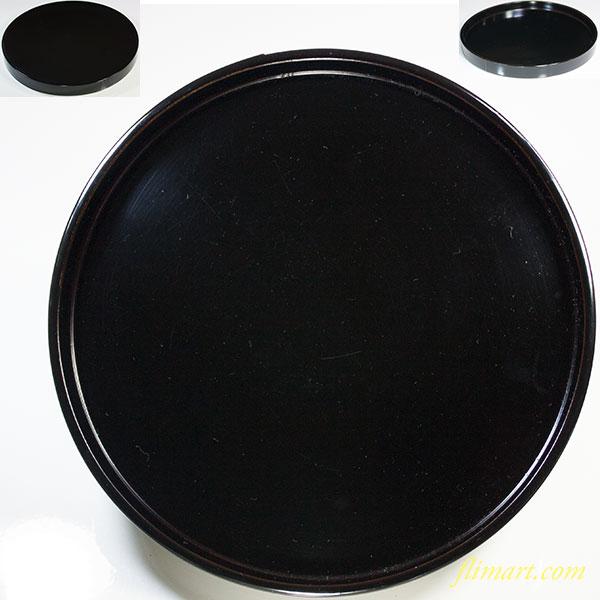 黒塗漆器丸盆W5769