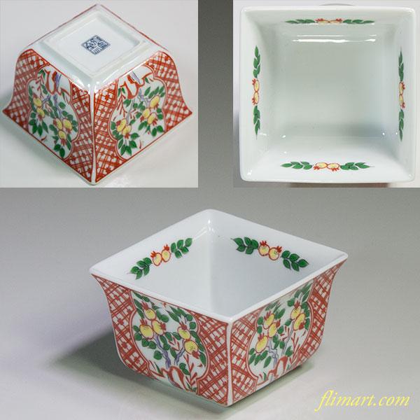 飛鳥窯色絵角小鉢W5778