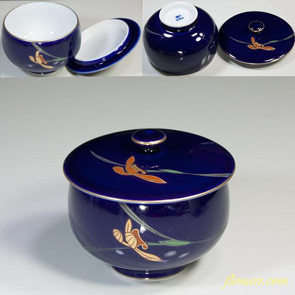香蘭社瑠璃菖蒲蓋付湯呑