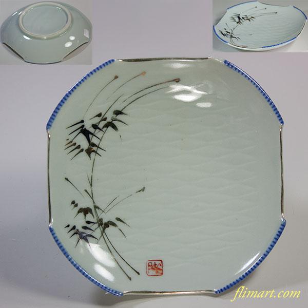 竹柄八角皿W5951