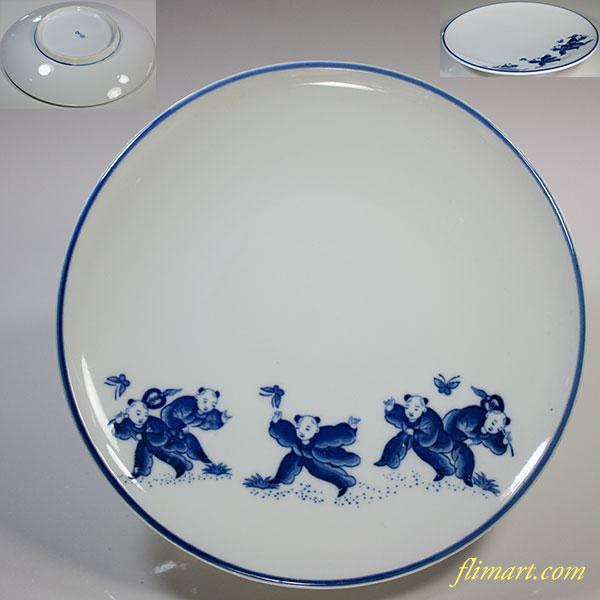 定園窯唐子六寸半皿