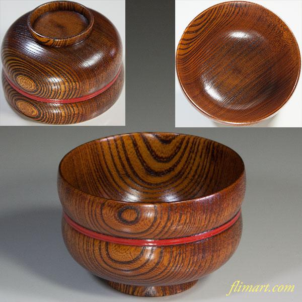 中山漆器浅京作天然木汁椀