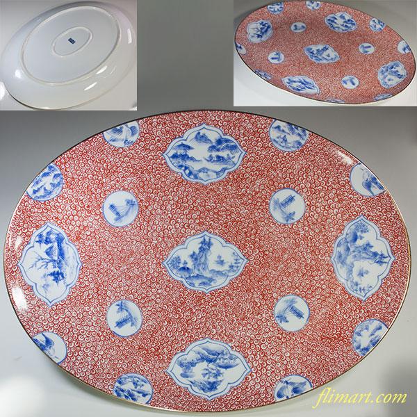 陶扇赤渦間取山水楕円皿