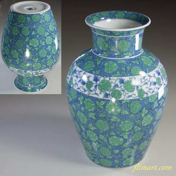 前畑陶器庫山窯緑彩更紗花瓶