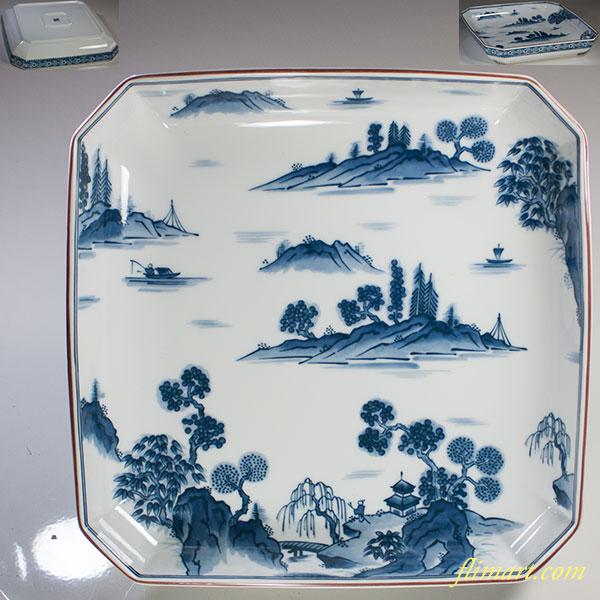 前畑陶器庫山窯染付山水角盛皿
