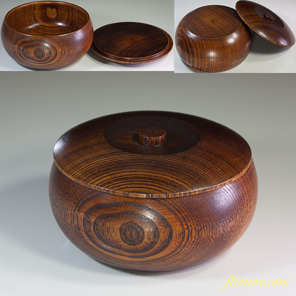 木製蓋付菓子器W6001