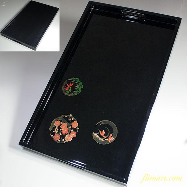 木製黒塗漆器長手盆W6017