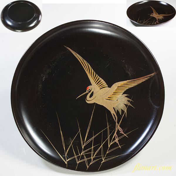 木製漆器黒塗鶴金彩皿