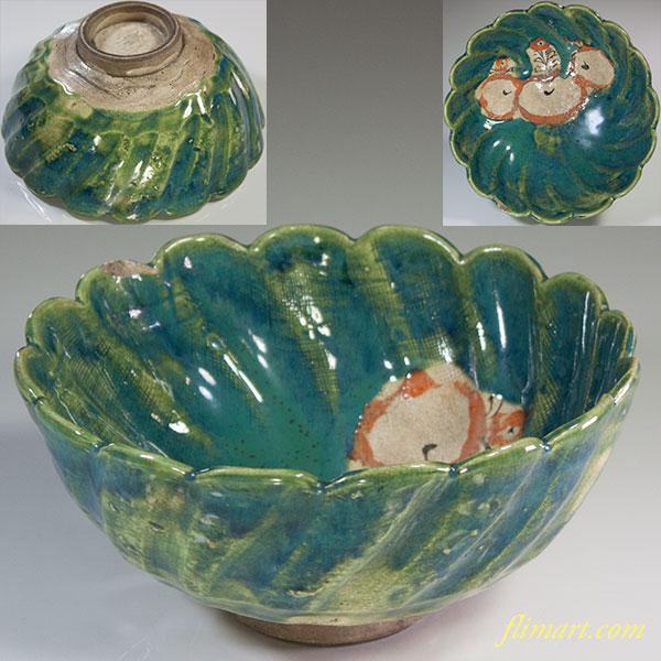 織部桐紋菓子鉢W6032